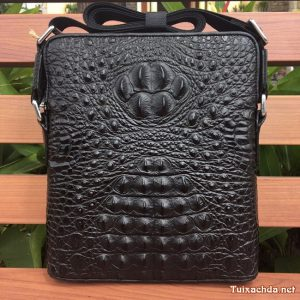 Túi đeo chéo da nam Vân Cá Sấu Cao cấp TVCS04 Đen