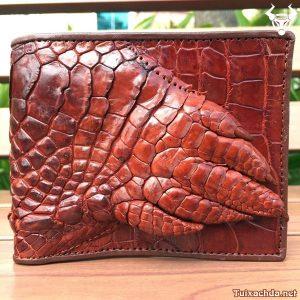 Bóp da cá sấu nam bàn tay nâu đỏ
