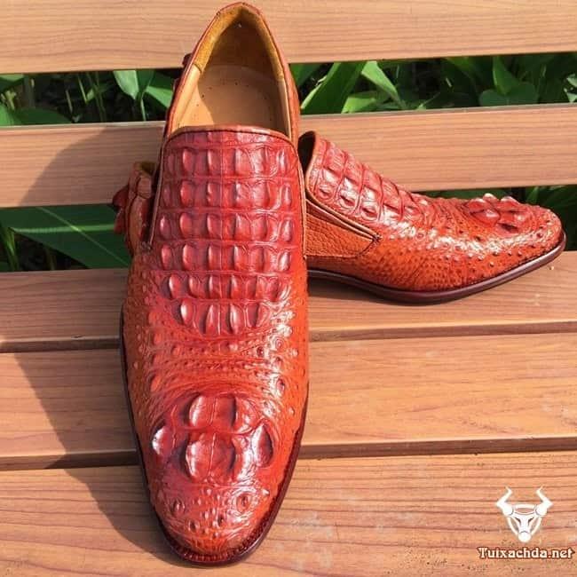 Giày da cá sấu hoa cà giá rẻ cho nam