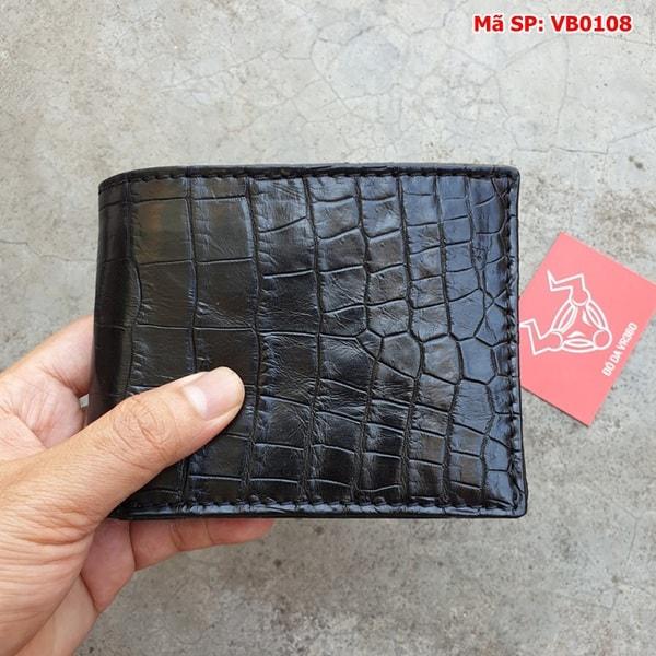 Bóp Nam Da Cá Sấu Thật Giá Rẻ Trơn Đen VB0108