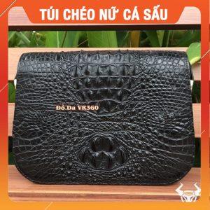 Túi Đeo Chéo Nữ Da Cá Sấu Thật ME0104 Đen