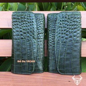 Ví Cầm Tay Nữ Da Cá Sấu 3 Gấp Xanh Rêu BL1408