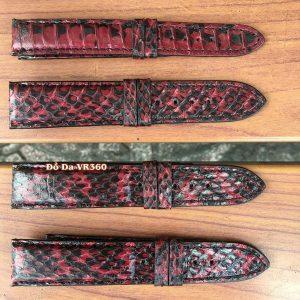 Dây Đồng Hồ Da Rắn Hổ Mang DH38 Đỏ Đen