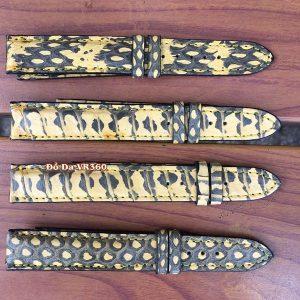 Dây Đồng Hồ Da Rắn Hổ Mang DH39 Vàng Đen