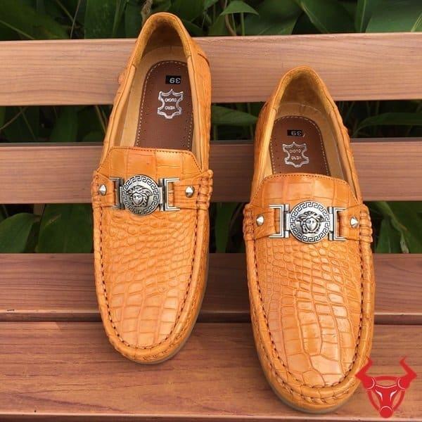 Giày Mọi da cá sấu GCS19 màu vàng bò Da Bụng chỉ 5,500,000₫