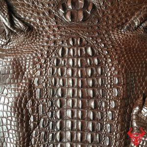Da Cá Sấu Thuộc Nguyên Tấm Màu Nâu Socola , Nâu Đất