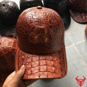 Mũ Nam Da Cá Sấu Nâu Đỏ Đầu Gù NO0404-NĐ
