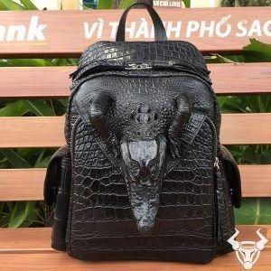 Ba Lô Da Cá Sấu Đen Nguyên Con Đầu Cá LD0110