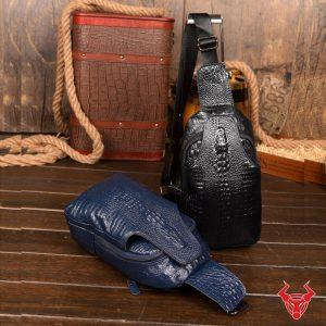 Túi Da Đeo Trước Ngực Dập Vân Cá Sấu TDL-VCS08