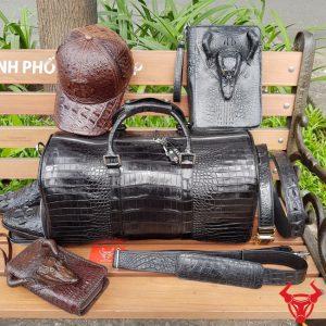 Combo Đồ Da Cá Sấu : Túi Trống + Clutch + Mũ + Giày + Thắt Lưng
