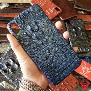 Ốp Lưng Iphone XS Max Da Cá Sấu 8 Gù Navy