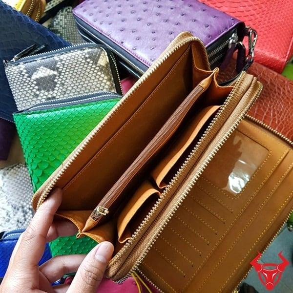 Bóp Cầm Tay Nữ Da Đà Điểu 2 Khuôn Lồi BJ18D3