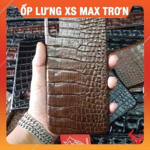 Ốp Lưng Da Cá Sấu Iphone XS Max Trơn Nâu OA2A8