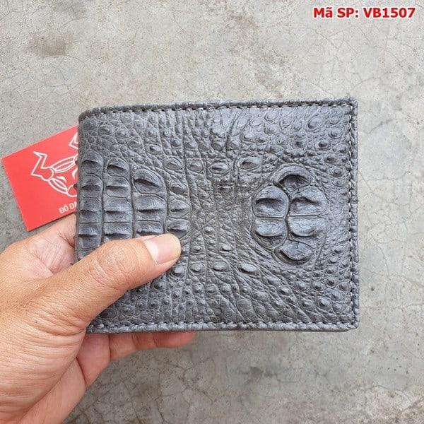 Tuidacasau Bóp Ví Da Cá Sấu Nguyên Con Xám VB1507 (1)