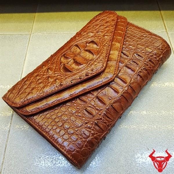 Bóp Da Cá Sấu Nữ 3 Gấp Phong Thư AO0404