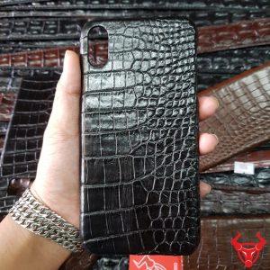 Ốp Lưng Da Cá Sấu Iphone XS Max Đen Trơn