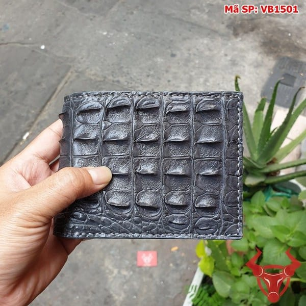 Bóp Ví Da Cá Sấu Gai Lưng Xám VB1501 (1)