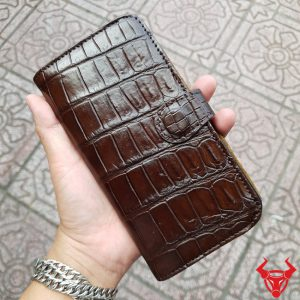 Bao Da Iphone 8 Plus Da Cá Sấu Trơn Nâu OE0208