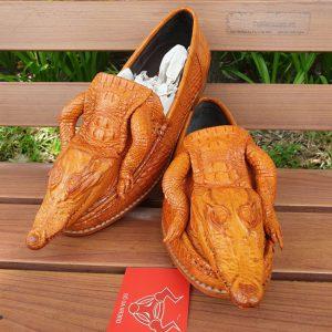 Giày Lười Nam Da Cá Sấu Nguyên Con GC7A10