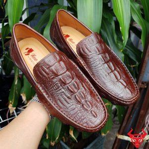 Giày Mọi Nam Da Bò In Vân Cá Sấu GVCS01-N