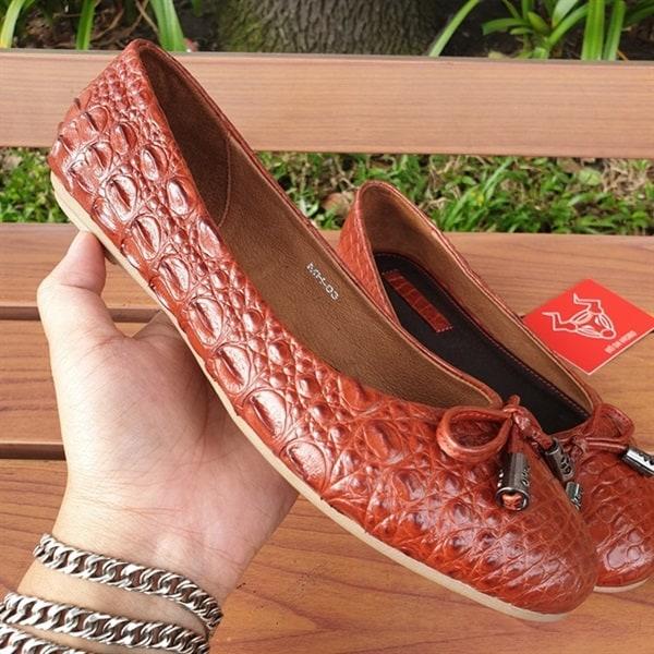 Giày Búp Bê Da Cá Sấu