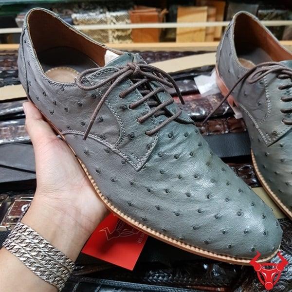 Giày Tây Đà Điểu Da Bụng Màu Xám Tro