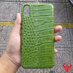 Ốp Lưng Da Cá Sấu Iphone XS Max Xanh Rêu OA14A8