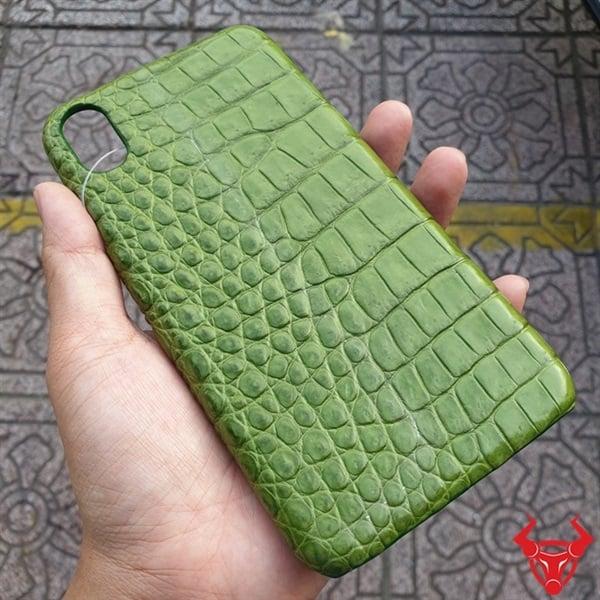 Ốp Lưng Da Cá Sấu Iphone XS Max Xanh Rêu OA1408