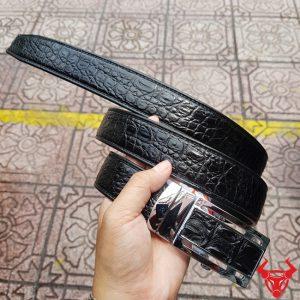 Thắt Lưng Da Cá Sấu Nối 3,5cm Đen Trơn AT010801