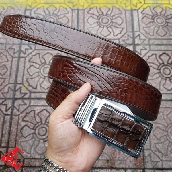 Thắt Lưng Cá Sấu Nối 3,5cm Trơn Nâu AT020801