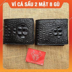 Ví Da Cá Sấu Nam Nguyên Con 2m 8 Gù Đen VC1A11