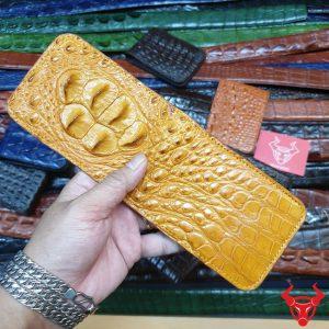 Ví Sen Da Cá Sấu Vàng Bò Gù Lớn VT0604