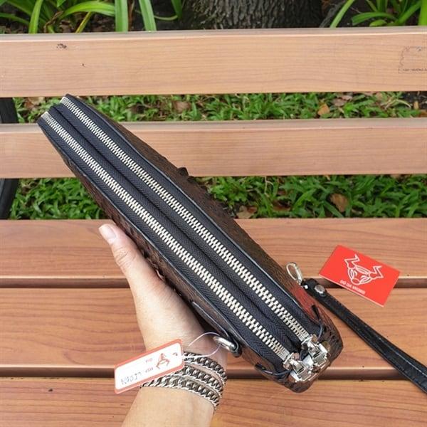 Clutch Cầm Tay Da Cá Sấu Nam Màu ĐenCI0104