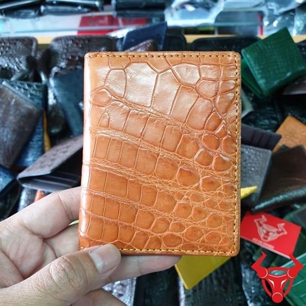 Ví Đựng Name Card ATM Da Cá Sấu Vàng Cam VS0708