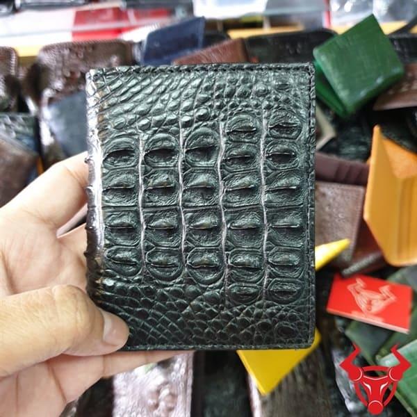 Ví Đựng Name Card Da Cá Sấu Gai Lưng Màu Đen VS0101