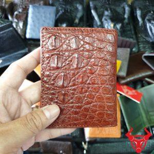 Ví Name Card Da Cá Sấu Màu Nâu Đỏ VS0408