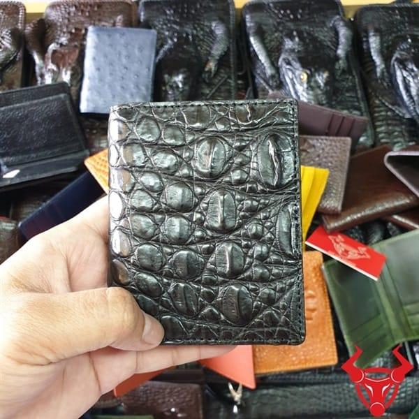Ví Đựng Thẻ ATM Da Cá Sấu Màu Đen VS0103