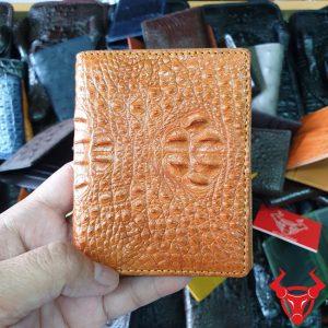 Ví Đựng Thẻ ATM Da Cá Sấu Nguyên Con Màu Vàng Bò VS0607