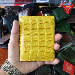 Ví Name Card Da Cá Sấu Gai Đuôi Màu Vàng VS0502