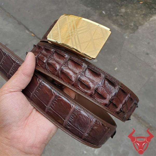 Thắt Lưng Nam Da Cá Sấu Màu Nâu TL020409A