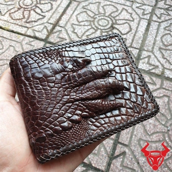 Ví Da Cá Sấu Bàn tay Đan Viền Nâu VD0206