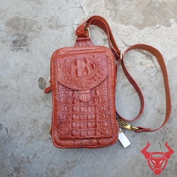 Túi Da Ca Sấu Thật Đeo Chéo Nam Màu Cam TG0404