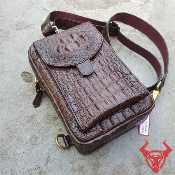 Túi Da Nam Cá Sấu Nâu Đen TG0204