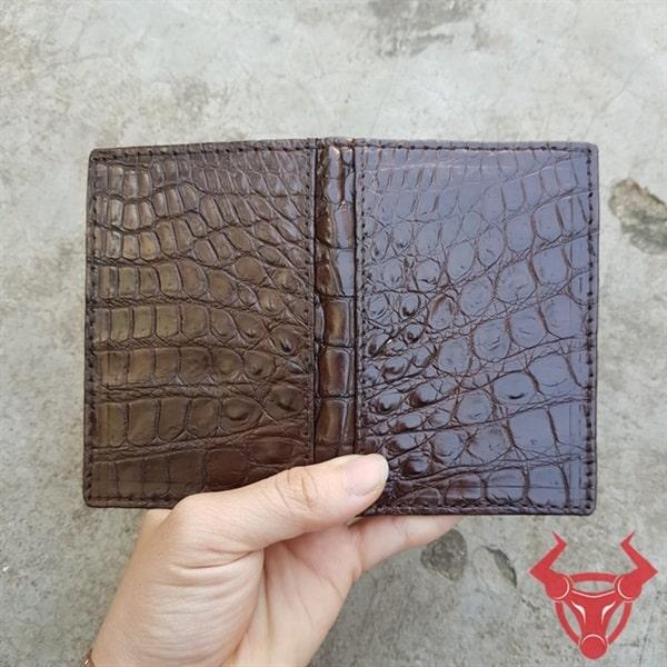 Bóp Name Card Da Cá Sấu Trơn Nâu VK0208