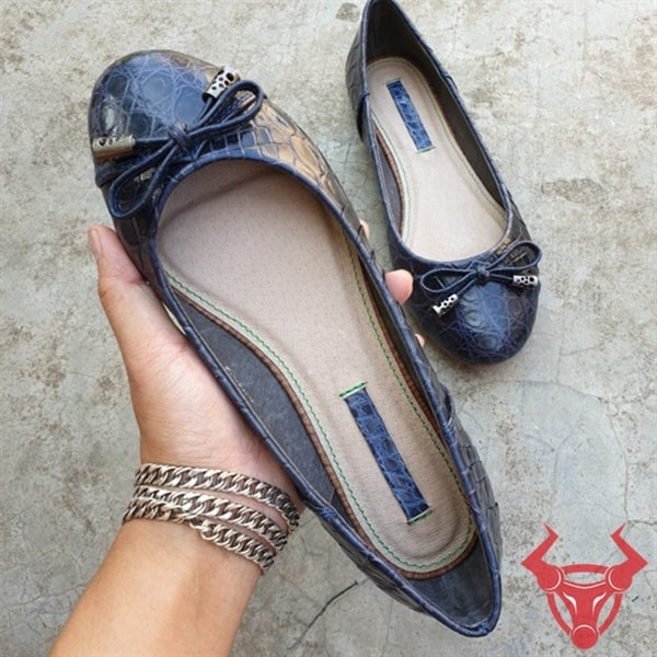 Giày Búp Bê Da Cá Sấu Trơn GN1208