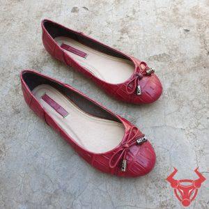 Giày Búp Bê Nữ Da Cá Sấu Thật GN0908