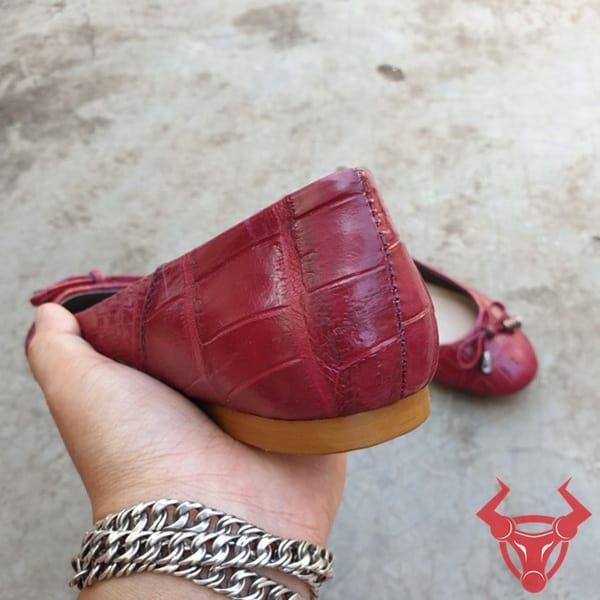 Giày Búp Bê Nữ Da Cá Sấu Thật GN0908-A