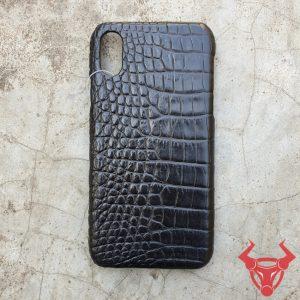 Ốp Lưng Cá Sấu Iphone 10 Trơn Đen OB1A8