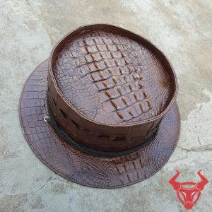 Mũ Vành Trụ Tròn Da Cá Sấu NB1A1