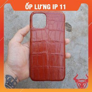 Ốp Lưng Da Cá Sấu Màu Nâu Đỏ Iphone11